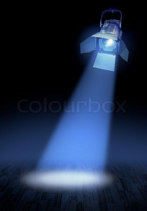 Dark Blue Theatre Stage With Spotlights Beam