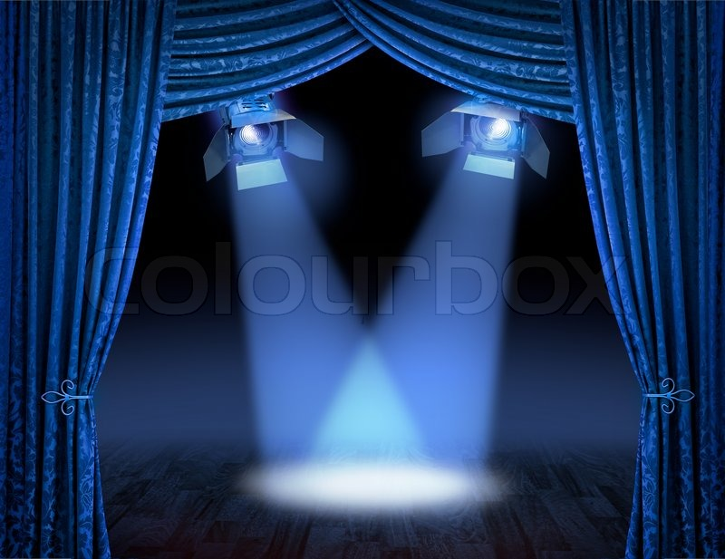 Blue Theatre Stage Curtains With Spotlights Beams Stock