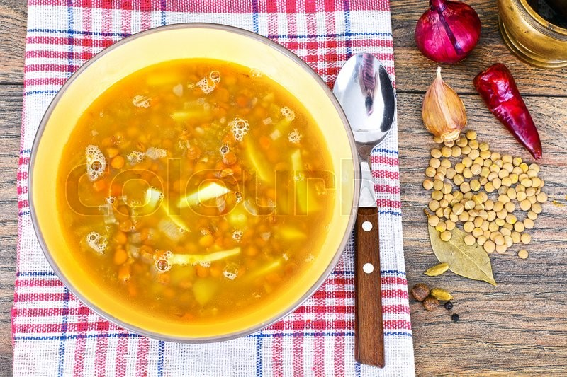 Stock image of 'Healthy and Diet Food: Soup with Lentils. Studio Photo'