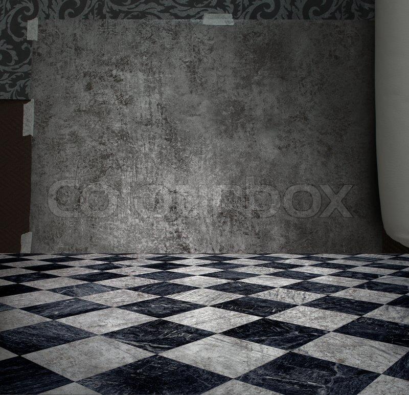 raue patina silber wand in karierten marmorboden zimmer stockfoto colourbox. Black Bedroom Furniture Sets. Home Design Ideas