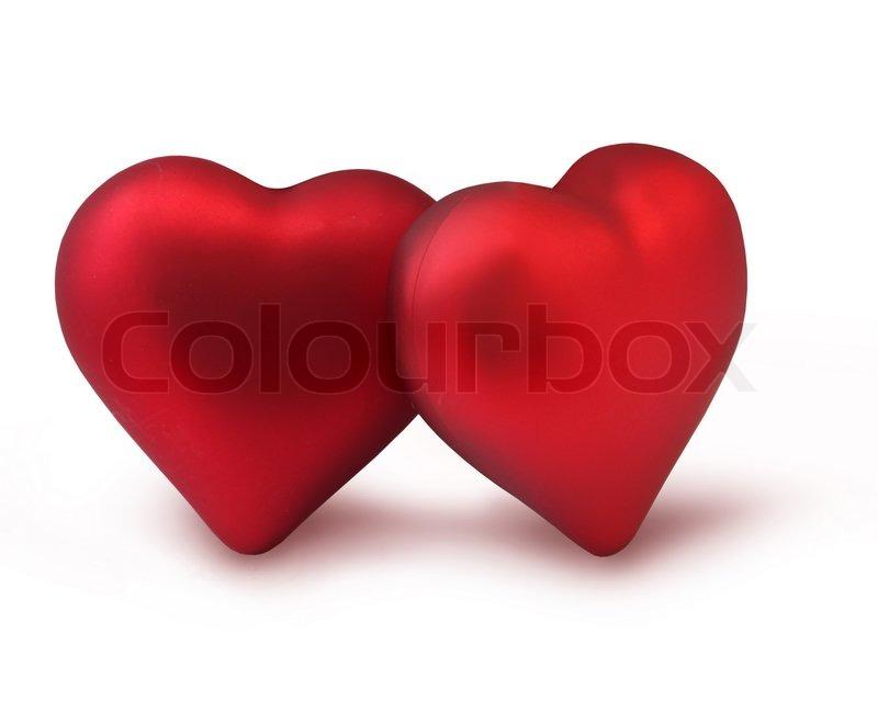 zwei rote valentine dekoration herz isoliert auf wei. Black Bedroom Furniture Sets. Home Design Ideas