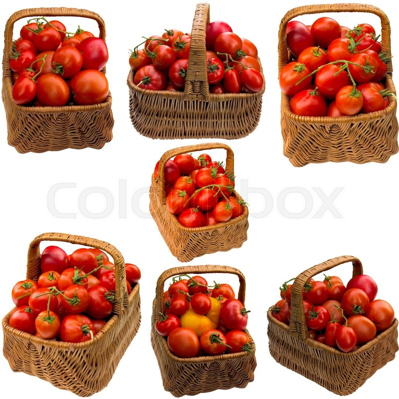 Stock image of 'Tomato, ready, basket, green, red, vegetable,  sample, background,  close up, food.'