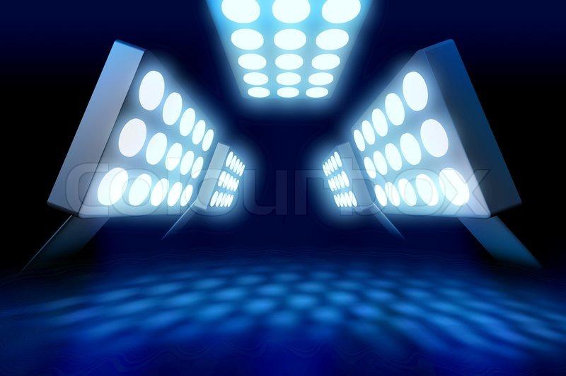 Stadium Style Premiere Lights Illuminating Blue Surface On