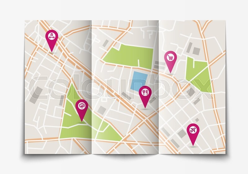 vector flat paper city map lying open top view brochure with map