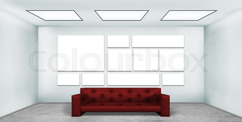 Stock image of 'Blank many poster in empty loft room with red leather sofa'