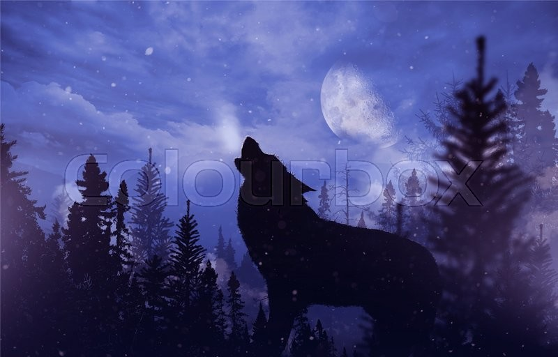Stock image of 'Howling Wolf in Wilderness. Mountain Landscape with Falling Snow, Moon and the Howling Alpha Wolf Illustration.'