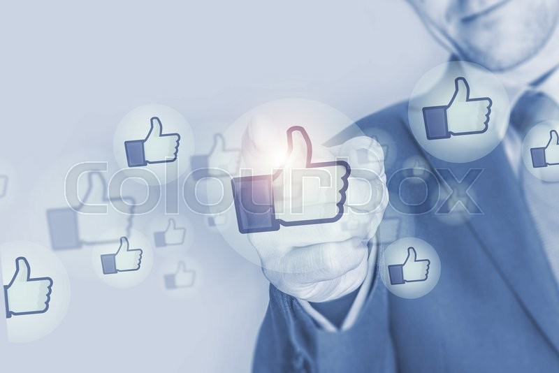 Stock image of 'Social Media Marketing Investment Concept Illustration with Businessman and Social Media Like Icons'