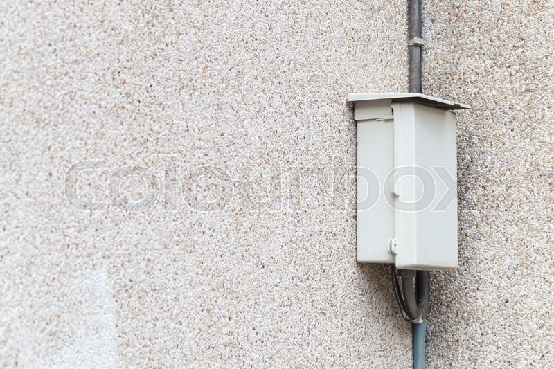 Stock image of 'Electrical control box Mounted on the wall of the control room equipment.'