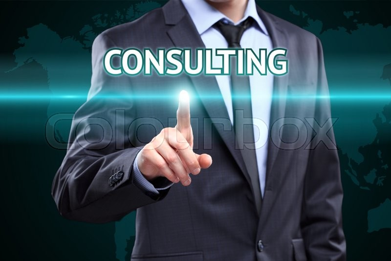 Stock image of 'Businessman pressing button on touch screen interface and select Consulting. Business, internet, technology concept.'