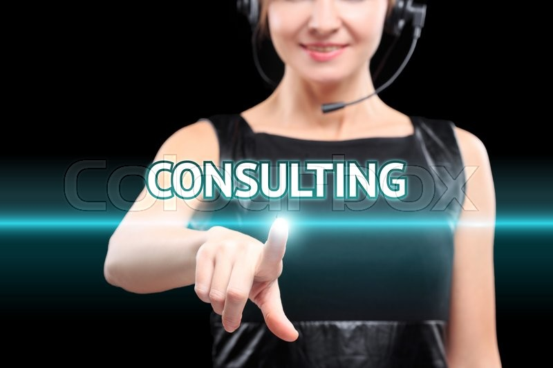 Stock image of 'businesswoman, Focus on hand pressing consulting button on virtual screens, technology and internet concept.'