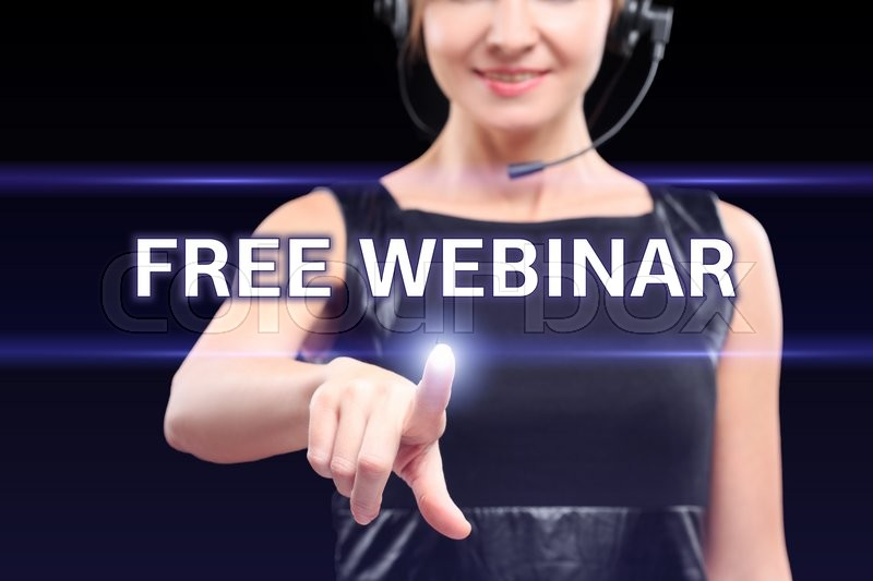 Stock image of 'businesswoman pointing on virtual screen and select Free Webinar. Business, internet concept. '