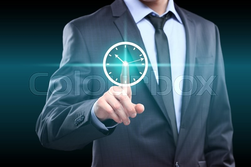 Stock image of 'Businessman hand press clock web sign time button. business, technology, internet and networking concept'