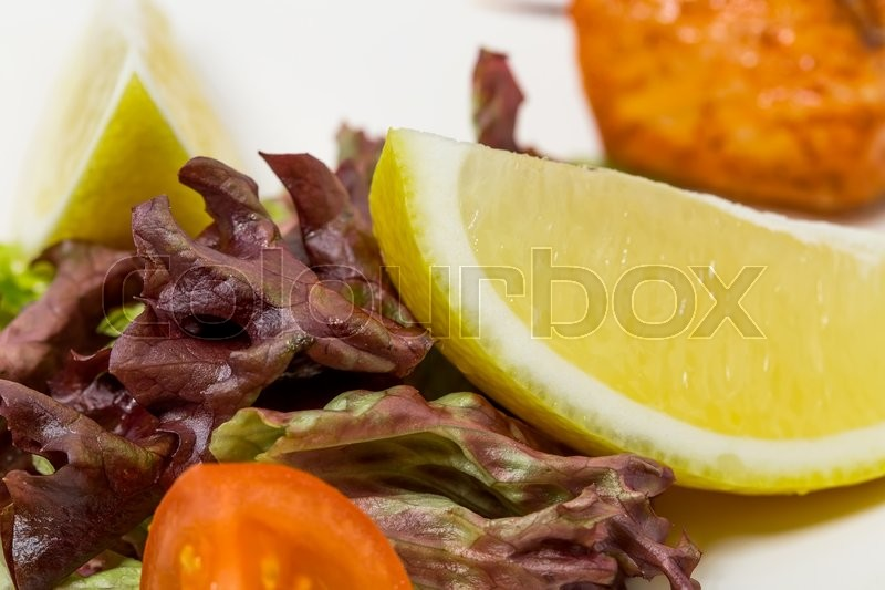 Stock image of 'Grilled salmon and vegetables. As a whole background.'