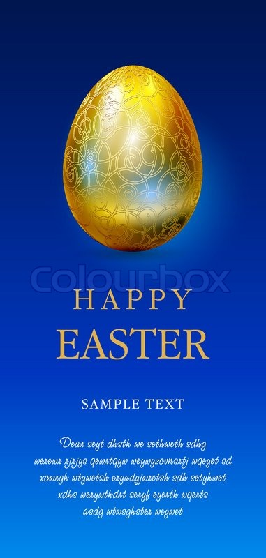 Happy easter greetings card with golden egg and blue space for text happy easter greetings card with golden egg and blue space for text stock vector colourbox m4hsunfo