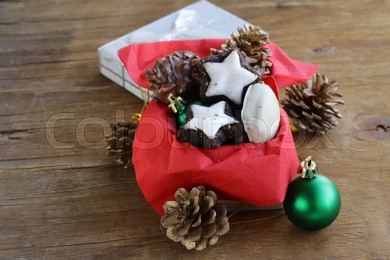 Stock image of 'Christmas gingerbread cookies with chocolate, sweet gift'
