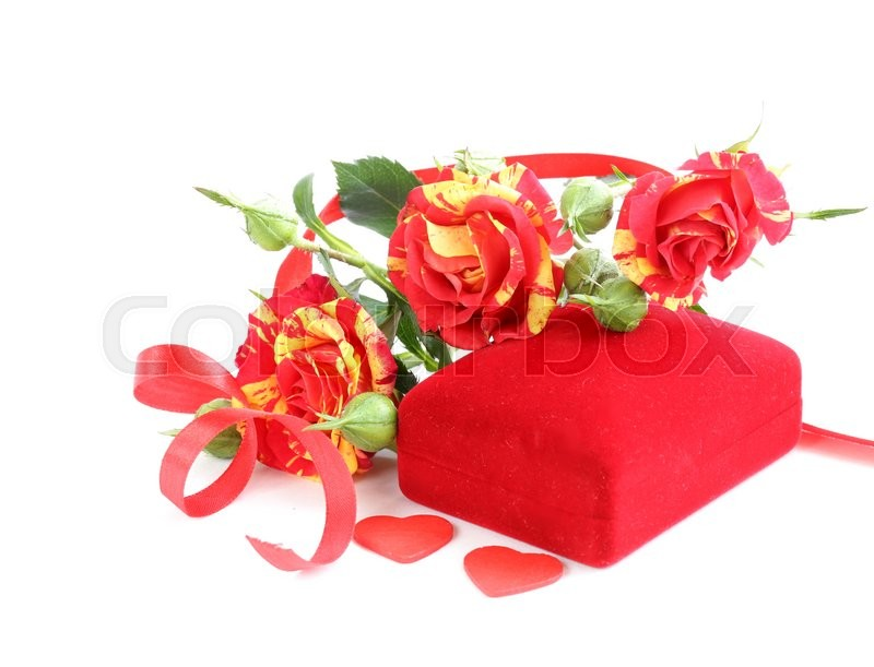 Stock image of 'bouquet of roses and gift box for holiday greeting card'