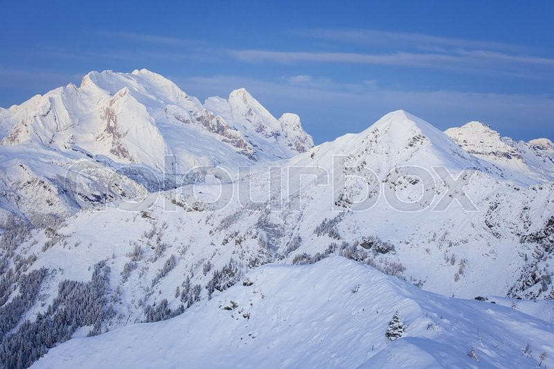 Stock image of 'Winter morning landscape of Marmolada summit in Dolomites in winter from Passo Giau, Dolomites, Italy'
