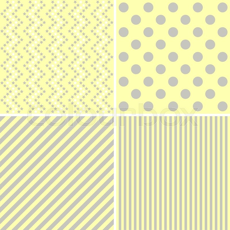 Stock image of 'Cute different vector  patterns. Image in Yellow color. '