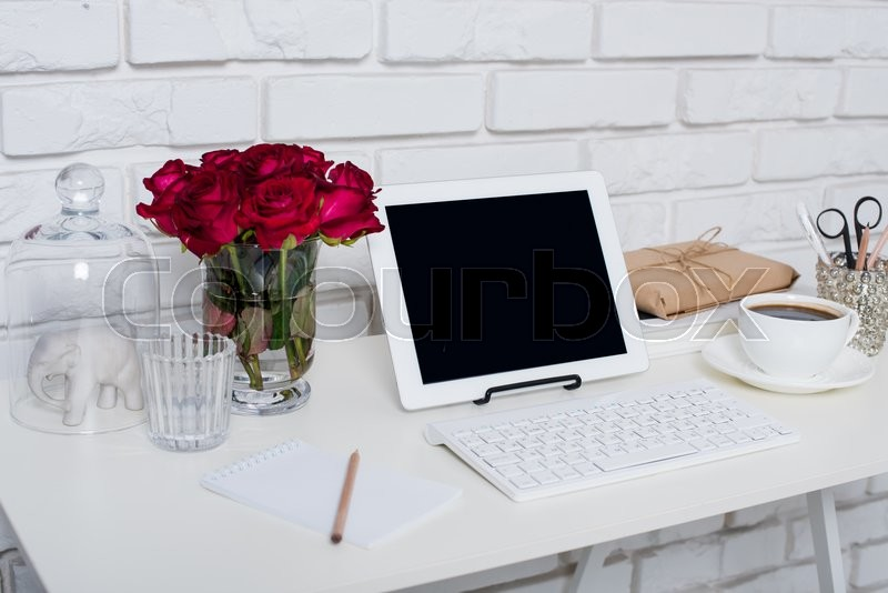 Young Business Woman Workspace White Feminine Office