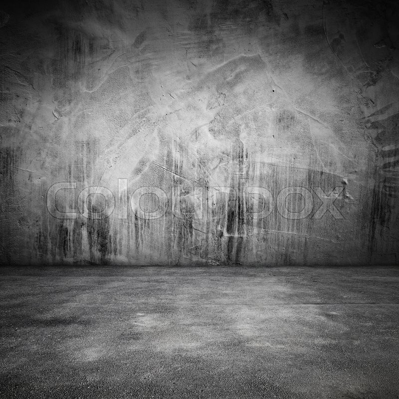 Stock image of 'Abstract grungy square interior background with concrete floor and wall'