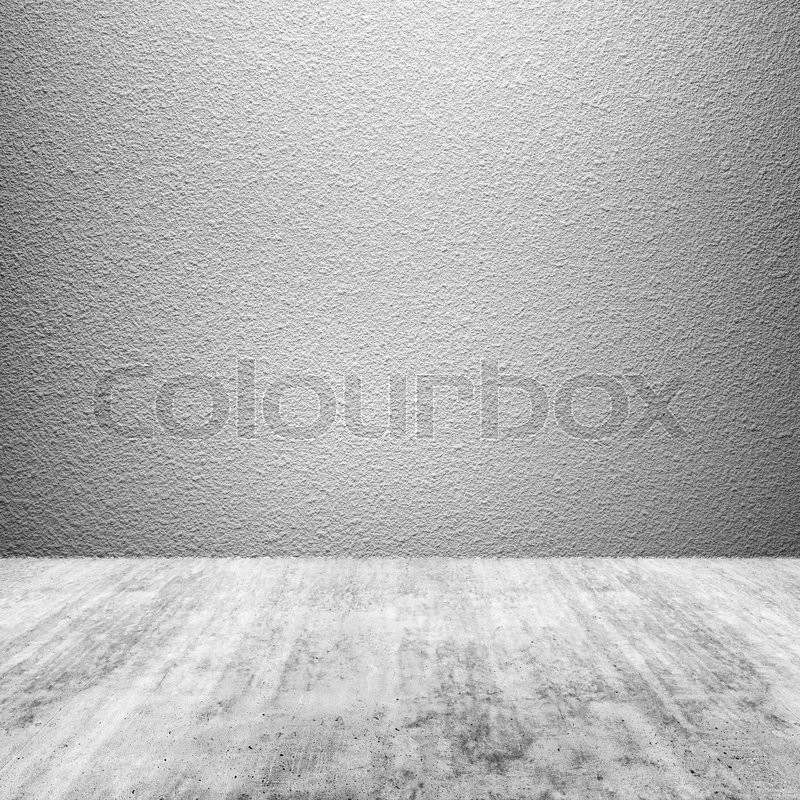 Stock image of 'Abstract empty square interior background with concrete floor and white wall'