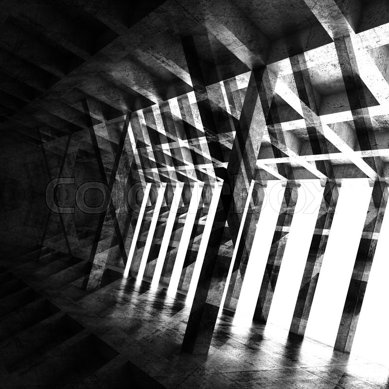 Stock image of 'Abstract square dark room interior, 3d background with multi exposure effect'