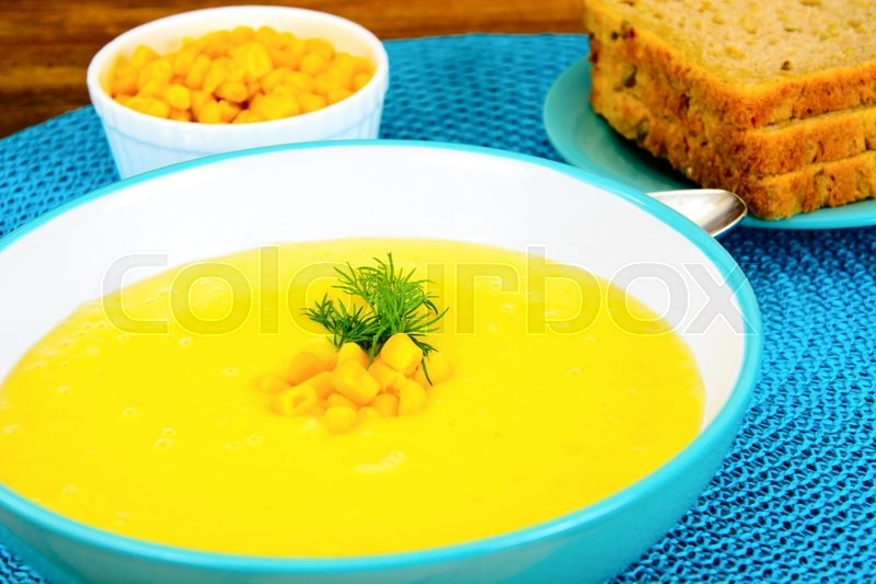 Stock image of 'Soup of Mashed Potato with Corn Studio Photo'