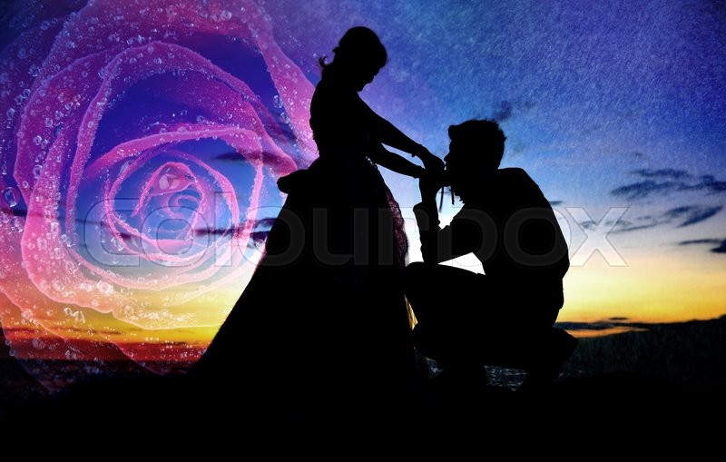 Stock image of 'Romantic Silhouette of sunset wedding couple love on the beach and sea and rose mixed'