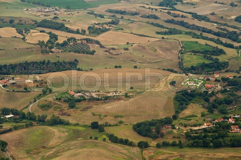 Stock image of 'Photo shows Italian landscape taken from the plane.'