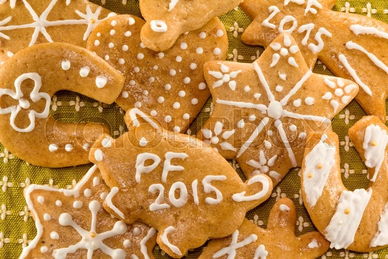 Stock image of 'Photo shows a closeup of various gingerbread cookies.'