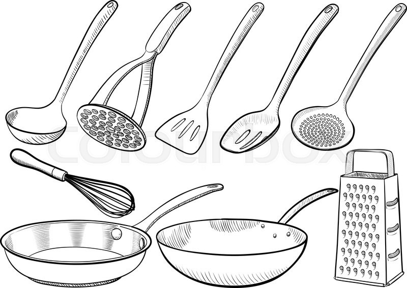 vector hand drawn kitchen equipment and tableware
