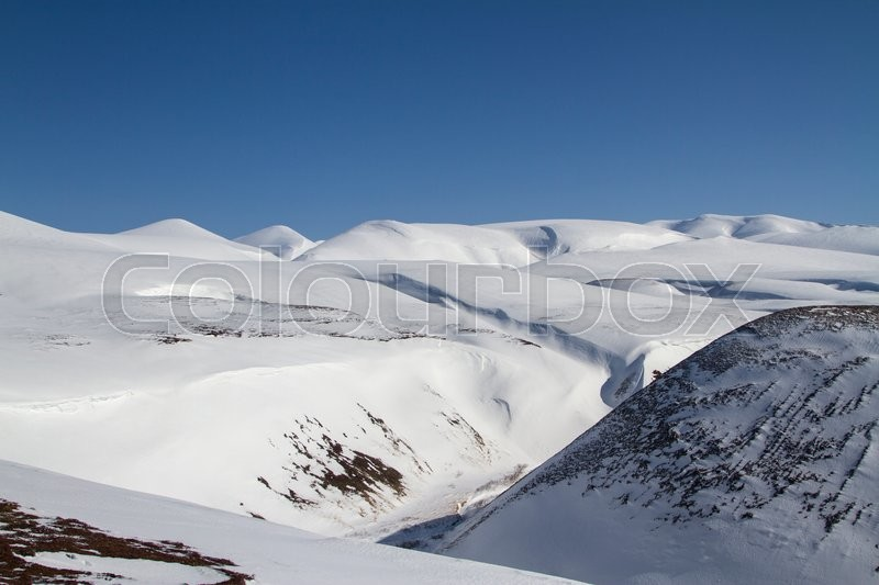 Stock image of 'Winter landscape of the central part of Bering Island on a sunny day'