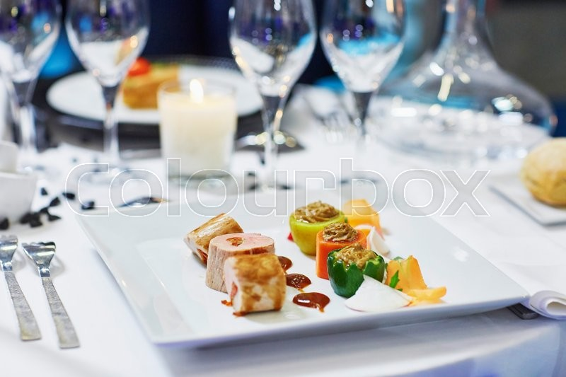 Stock image of 'Assorted tasty finger food on a wedding reception'