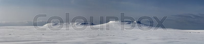Stock image of 'panorama mesas on Bering Island winter sunny day'