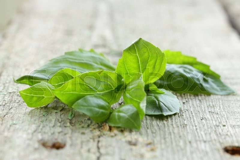 Stock image of 'fresh green basil leaves on a wooden background'