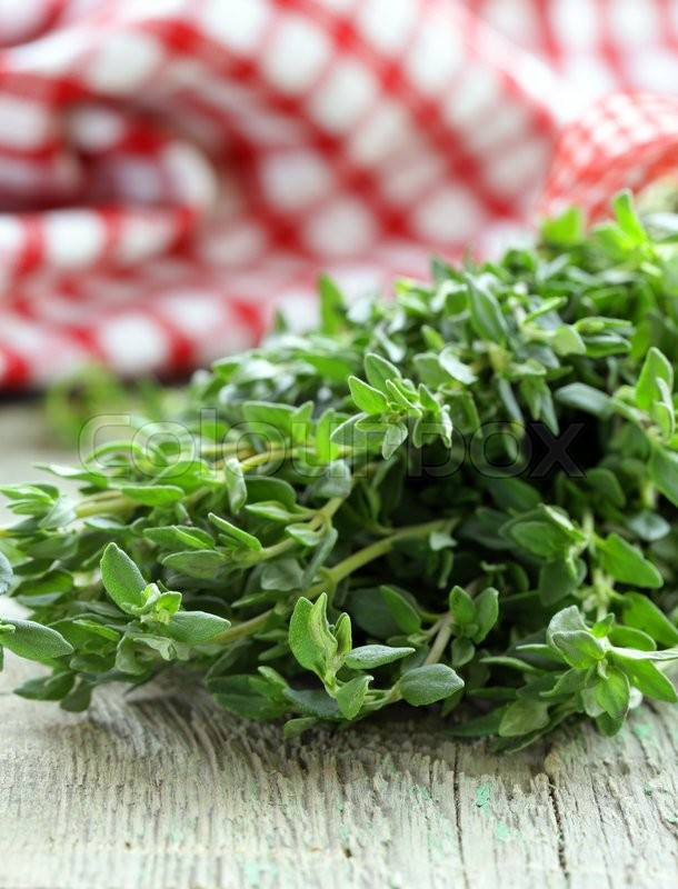 Stock image of 'bunch of fresh green thyme on a wooden table'