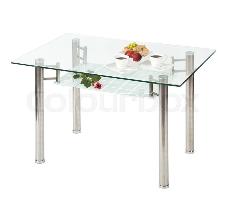 Stock image of 'Rectangular glass top dining table - isolated'
