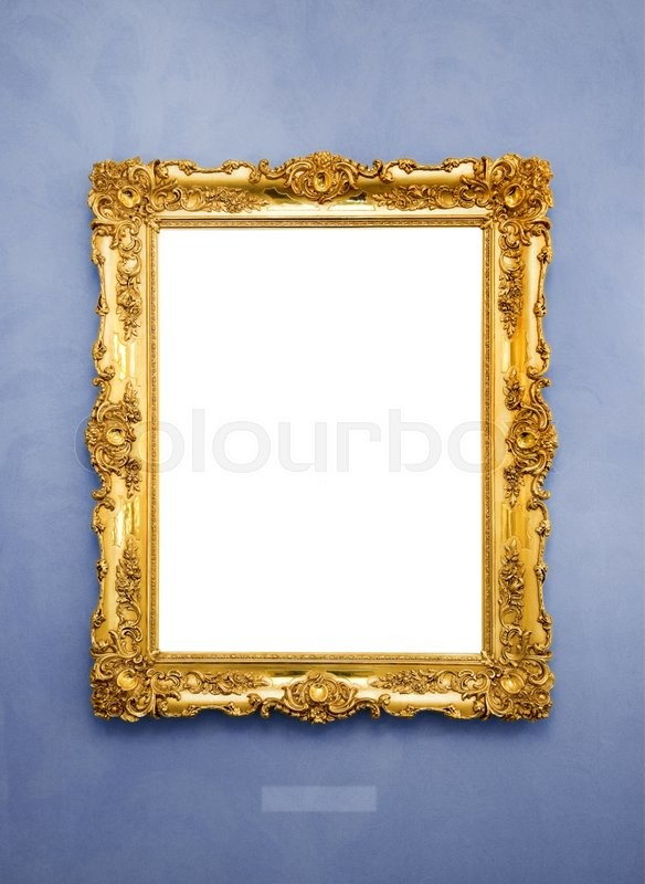 Stock image of 'Ornate picture frame on a blue wall'