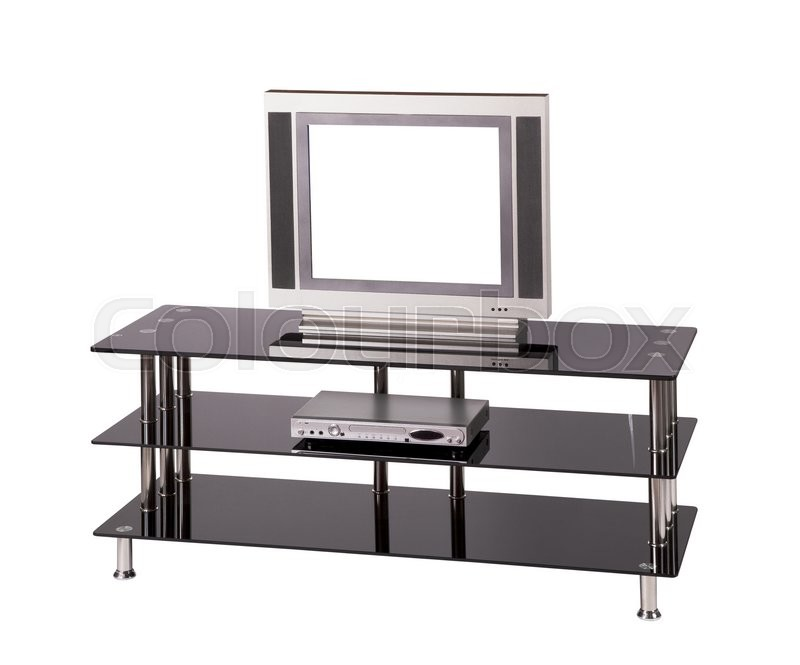 Stock image of 'Modern TV table stand with glass shelves'
