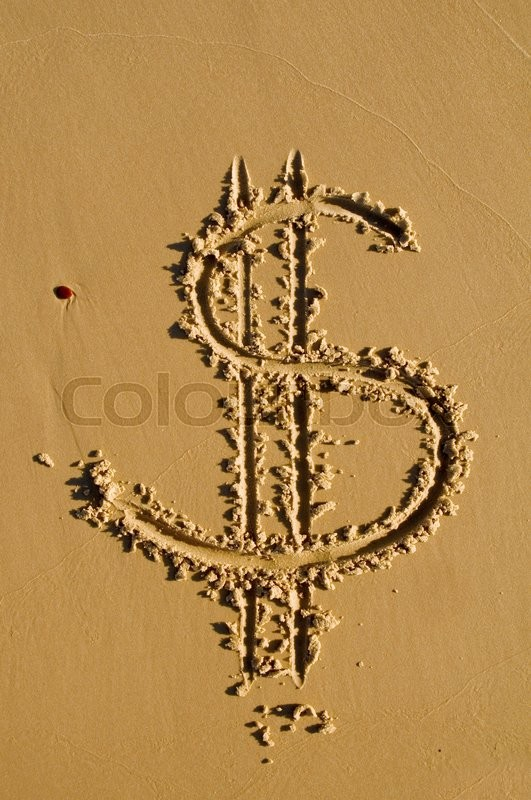 Stock image of 'Dollar sign in the sand'