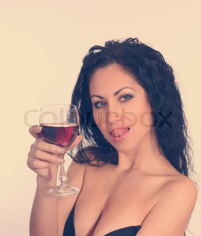 Stock image of 'Woman with wineglass. Retro vintage style.'
