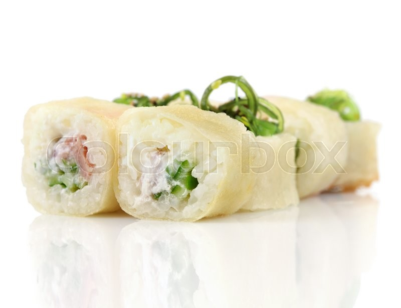 Stock image of 'Sushi hot rolls with shrimp, cheese, tuna, wakame seaweed on white'