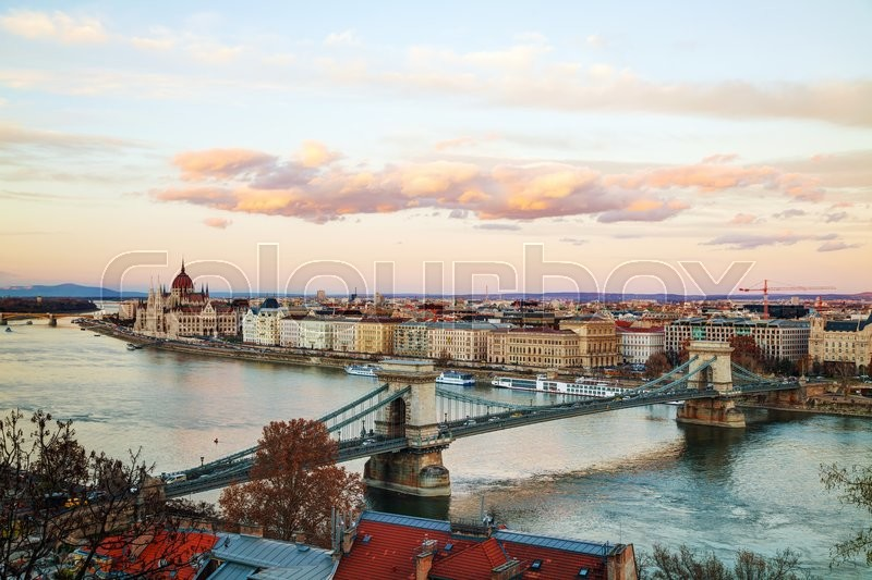 Stock image of 'Overview of Budapest with the Parliament building at sunset'