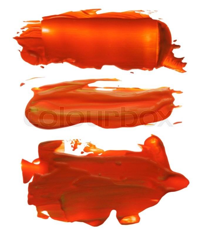 Stock image of 'Collection of abstract acrylic brush strokes blots'