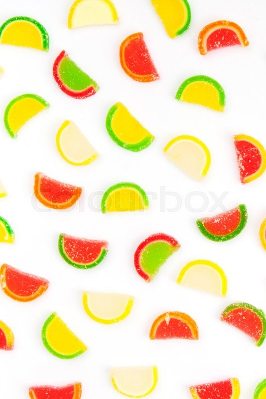 Stock image of 'fruit jellies, oranges, lemons, limes'