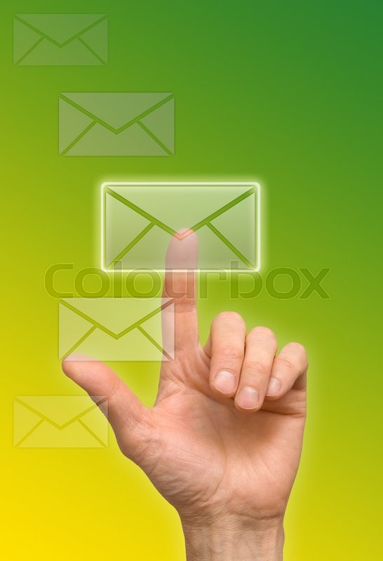 Stock image of 'arm press the button (icon of letter)'