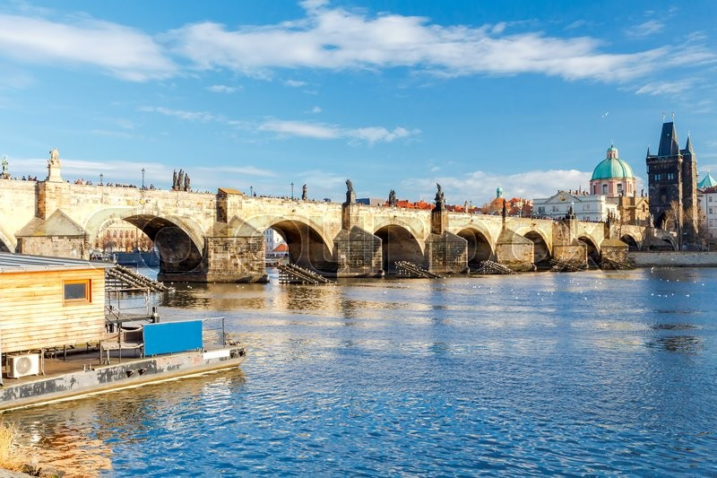 Stock image of 'Charles Bridge in Prague. One of the oldest bridges in Europe. The most visited place in Prague.'