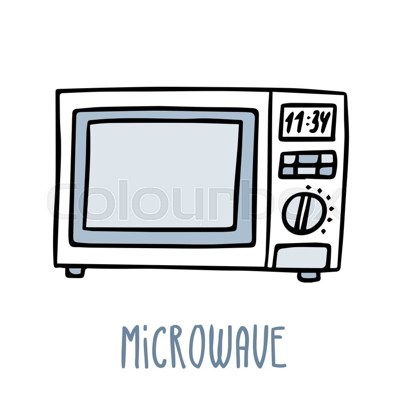 Cute Vector Doodle Sketch Microwave Oven In Blue Tones Isolated On White
