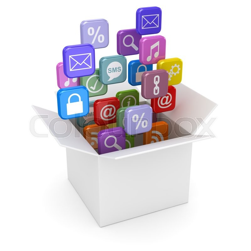 Stock image of 'Open white cardboard and colorful smartphone app icons. 3d render and computer generated image.'