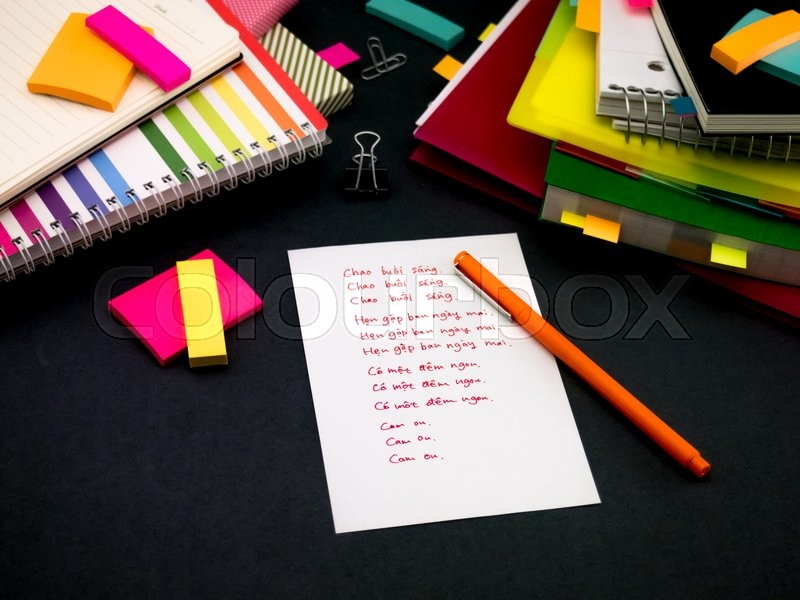Stock image of 'Learning New Language Writing Words Many Times on the Notebook; Vietnamese'